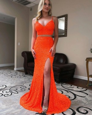 Spaghetti Straps Two Piece Orange Sequin Mermaid Formal Dress with Side Slit PD2270