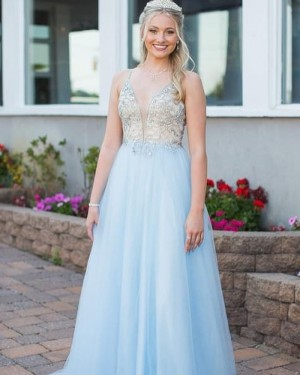 Beading Bodice Spaghetti Straps Light Blue Formal Dress PD2274