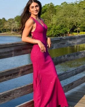 Sparkle V-neck Satin Mermaid Burgundy Formal Dress PD2275