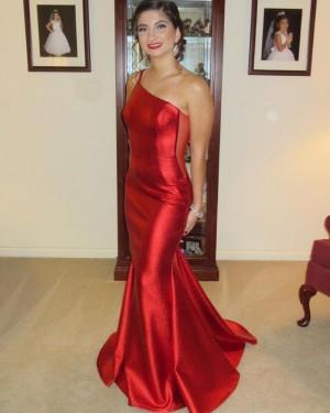 Red Mermaid One Shoulder Satin Formal Dress PD2276