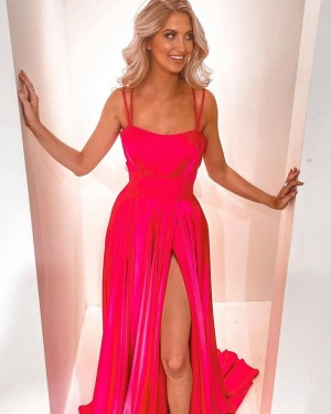 Red Satin Double Spaghetti Straps Formal Dress with Side Slit PD2278