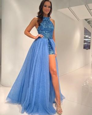 Blue Sequin High Neck Jumpsuit with Detachable Sparkle Tulle Skirt PD2279