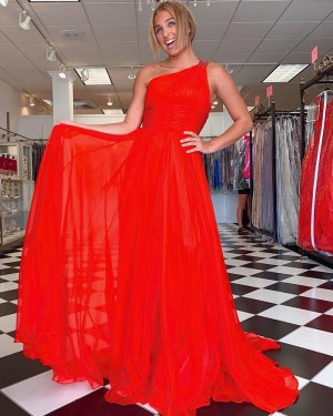 One Shoulder Red Chiffon Simple Formal Dress with Side Slit PD2281