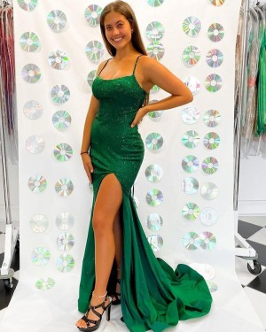 Green Sequin Bodice Spaghetti Straps Mermaid Formal Dress with Side Slit PD2282