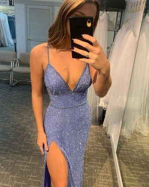 Sequin Blue Sequin Lace Spaghetti Straps Formal Dress with Side Slit PD2284
