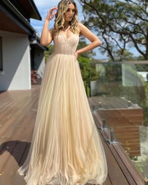 Spaghetti Straps Chiffon Pleated Nude Simple Formal Dress PD2286