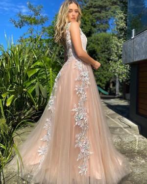 Pink Lace Applique V-neck Tulle Formal Dress PD2287
