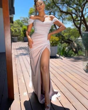 Ruched Pink Mermaid Off the Shoulder Formal Dress with Side Slit PD2289