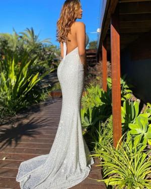 Silver Sequin Mermaid Halter Formal Dress PD2290