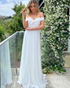 White Pleated Off the Shoulder Chiffon Formal Dress PD2292