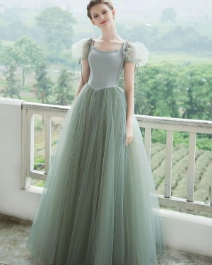 Mint Tulle Ball Gown Scoop Formal Dress with Short Bubble Sleeves PD2293