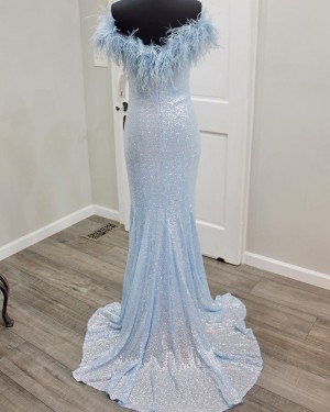Sequin Blue Mermaid V-neck Formal Dress with Feather PD2296