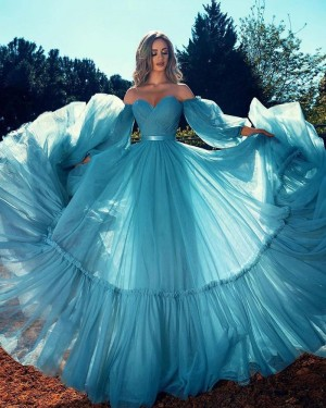 Ruched Tulle Blue Off the Shoulder Formal Dress with Long Sleeves PD2297