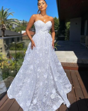 Sweetheart Lace White A-line Formal Dress PD2299