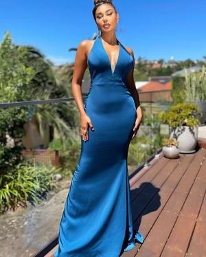 Satin Blue Mermaid Halter Formal Dress with Side Slit PD2301