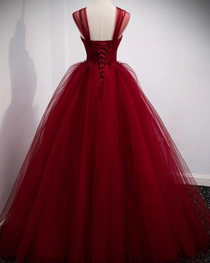 Burgundy Tulle Off the Shoulder Ball Gown Formal Dress PD2303