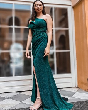 Cutout One Shoulder Sparkle Green Ruched Mermaid Formal Dress with Side Slit PD2305