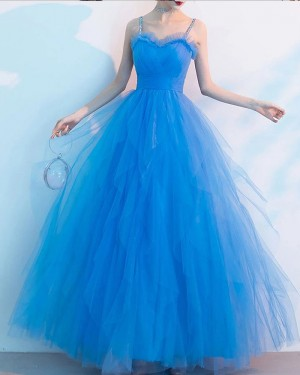Blue Spaghetti Straps Ruched Tulle Formal Dress PD2306
