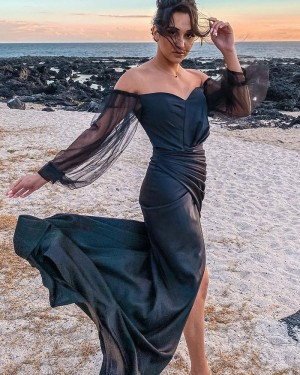 Black Ruched Satin Off the Shoulder Mermaid Formal Dress with Long Tulle Sleeves PD2307