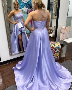Lavender Satin One Shoulder Ruched Formal Dress with Pockets PD2311