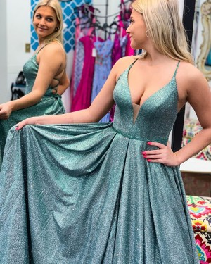 Sparkle Spaghetti Straps Green Pleated Formal Dress PD2312