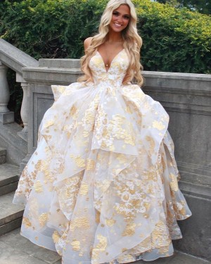 Gold Spaghetti Straps Sequin Ruffled Formal Dress PD2316