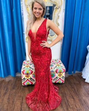 Red Lace Sequin V-neck Mermaid Formal Dress PD2318