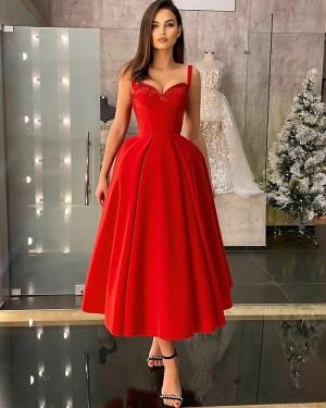 Beading Red Square Neckline Satin Ankle Length Formal Dress PD2321