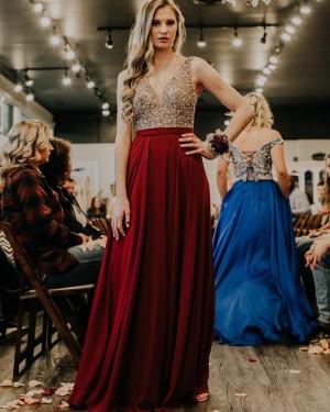 Sequin Bodice Burgundy V-neck Satin Formal Dress PD2322