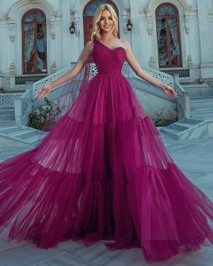 Burgundy Tulle One Shoulder Ruffled Formal Dress PD2325
