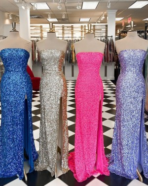 Sequin Mermaid Strapless Formal Dress with Side Slit PD2327