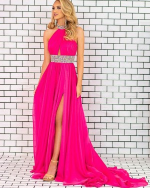 Ruched Fuchsia High Neck Chiffon Beading Formal Dress with Side Slit PD2329