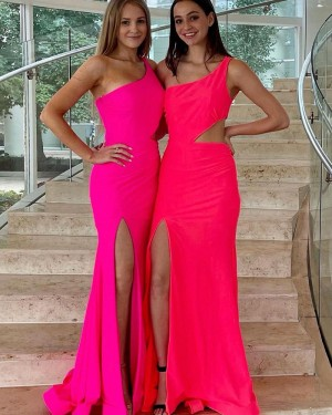 Cutout One Shoulder Pink Satin Mermaid Formal Dress with Side Slit PD2331