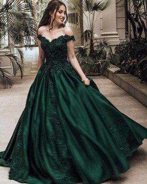 Long Satin Off the Shoulder Appliqued Ball Gown Prom Dress PM1113