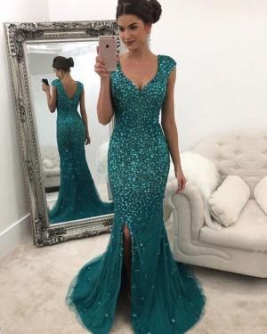 Elegant Green Beading Scoop Side Slit Mermaid Long Formal Dress PM1115