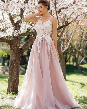 Long Blush Pink Sheer Lace Appliqued Bodice Prom Dress PM1116