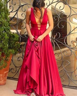 Simple Long A-line Deep V-neck Cutout Satin Prom Dress PM1117