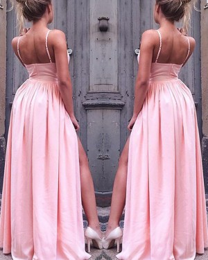 Long Pink Spaghetti Straps Pleated Prom Dress with Side Slit PM1118
