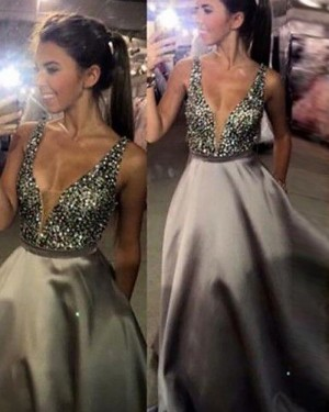 Ivory Satin Deep V-neck Beading Bodice Ball Gown Prom Dress with Pockets PM1120