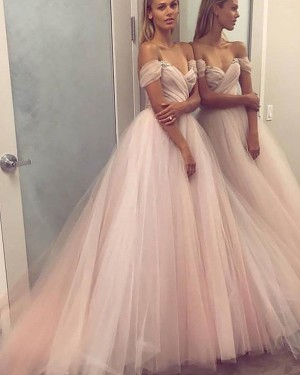 Pink Off the Shoulder Ruched Tulle Ball Gown Prom Dress PM1121