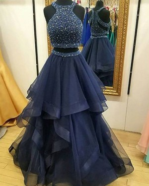 Navy Blue High Neck Two Piece Beading Bodice Tulle Prom Dress PM1122