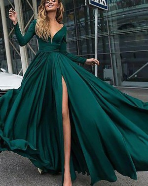 Deep V-neck Satin Green Side Slit Long Sleeve Formal Dress PM1126