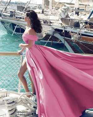 Pink Satin Off the Shoulder Ball Gown Formal Dress with Side Slit PM1128