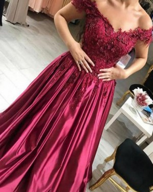 Off the Shoulder Burgundy Beading Handmade Flowers Ball Gown Prom Dress PM1129