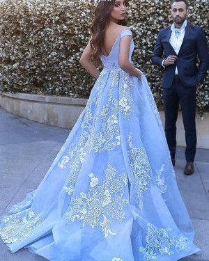 Sky Blue Appliqued Off the Shoulder Ball Gown Prom Dress with Pockets PM1130