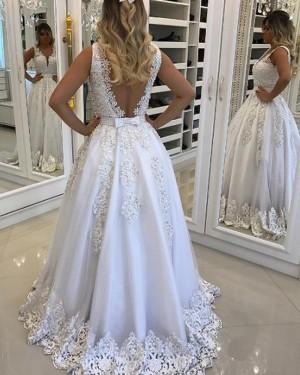 Elegant Long White V-neck Lace Appliqued Princess Prom Dress PM1131