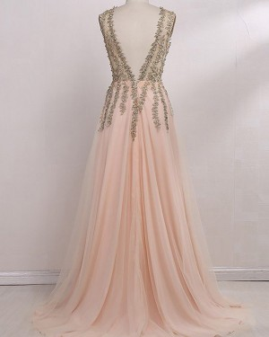 V-neck Long Lace Beading Bodice Pink Prom Dress with Side Slit PM1132