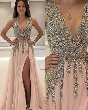 77cf9db3cd9 -18% V-neck Long Lace Beading Bodice Pink Prom Dress with Side Slit PM1132  ...