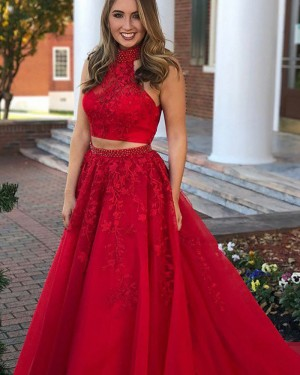 Long Red High Neck Two Piece Lace Appliqued Prom Dress PM1133