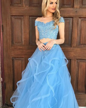 Sky Blue Two Piece Tulle Off the Should Appliqued Prom Dress PM1134